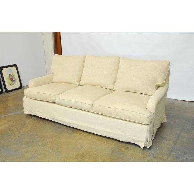 Chenille Skirted Sofa: English Roll Arm Chenille Sofa