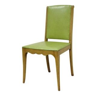 Vintage Hollywood Regency Art Deco Modern Green Vinyl Vanity Side Chair
