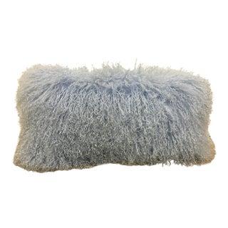 Mongolian Hair Lumbar Pillow in Periwinkle