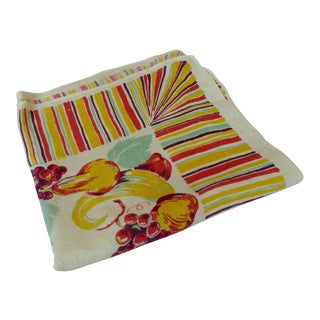 Vintage Fruit Motif Linen Tablecloth