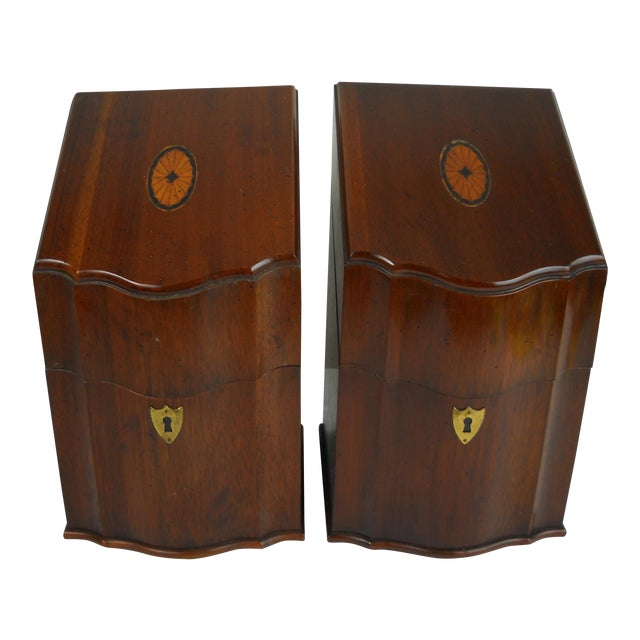 Georgian-Style Inlaid Knife Boxes - A Pair - Image 1 of 10