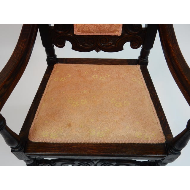 Antique Intricately Carved Oak Throne Chair - Image 10 of 10