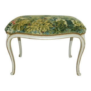 French Bench With Green Scalamandre Marly Tapestry Velvet