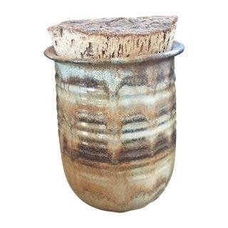 Vintage Studio Pottery Jar Vase With Cork Lid
