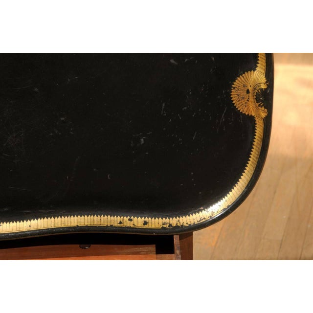 Vintage Regency English Black & Gilt Tole Tray - Image 3 of 6