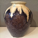 Image of Brown & Ivory Glazed Pottery Vase