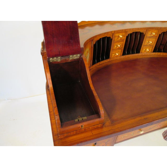 French Antique Satinwood Painted Carlton Desk - Image 6 of 10