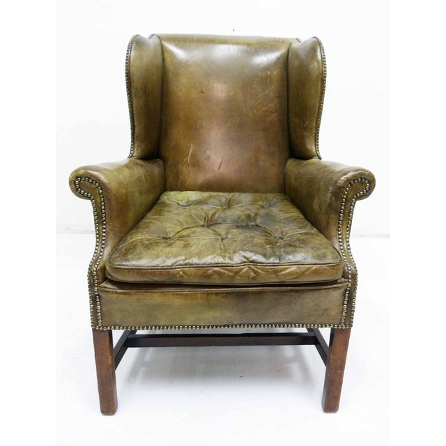 Image of Distressed Leather 19th C. Wingback Chair