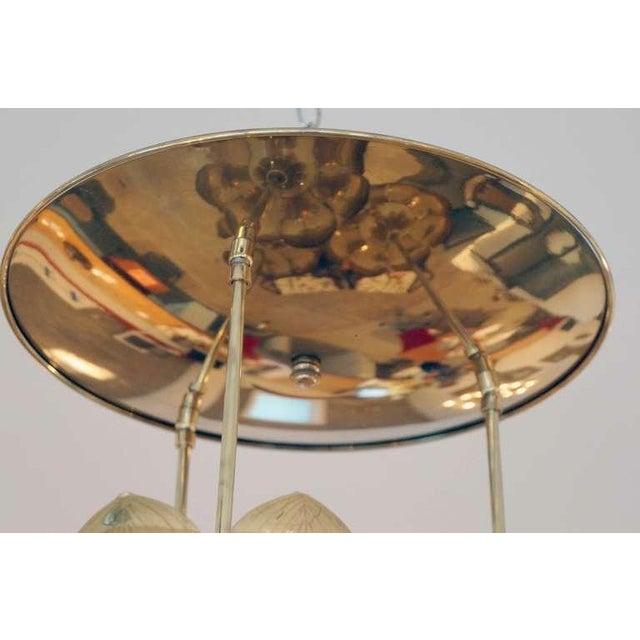 Triple Light Brass Lotus Pendant - Image 8 of 8