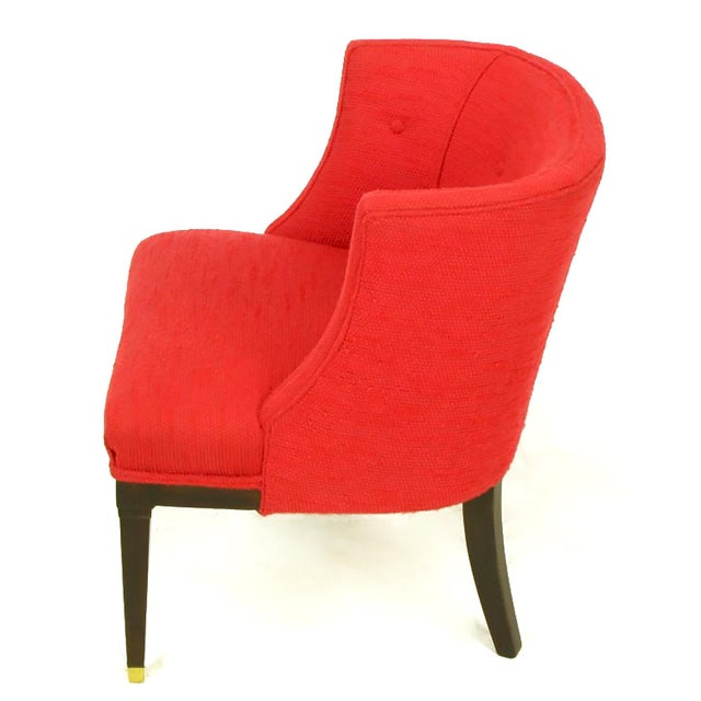 Pair of Button Tufted Red Wool and Dark Walnut Pull Up Wing Chairs - Image 6 of 10