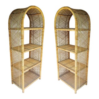 Vintage Matching Rattan Etageres Arch Top Bookcase Set - A PAIR