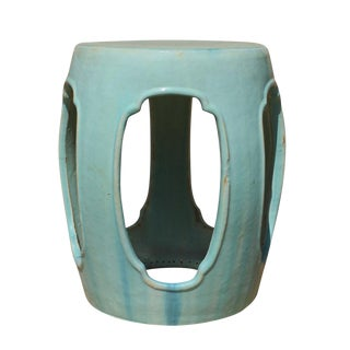 Chinese Round Barrel Light Turquoise Green Ceramic Clay Garden Stool