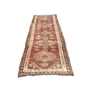 "Vintage Turkish Oushak Rug - 3'8"" X 9'11"""