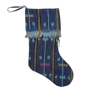 Vintage African Handwoven Cloth Christmas Stocking