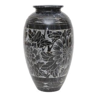 Engraved Black Marble Vase