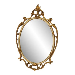 1950s Victorian Gilded Ornate Oval Mirror