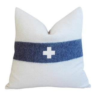 Nautical White & Blue Striped Wool & Linen Pillow