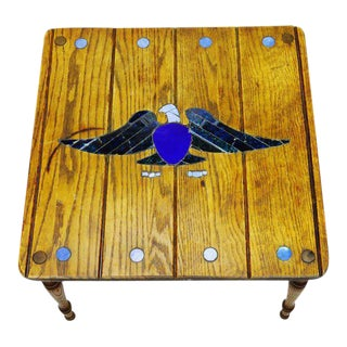 Mosaic Eagle Inlay Accent Table
