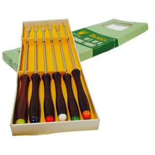 Danish Fondue Forks with Original Box - Set of 8