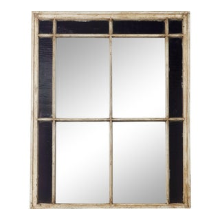 Antique Window Frame Mirror with Original Amethyst Stained Glass