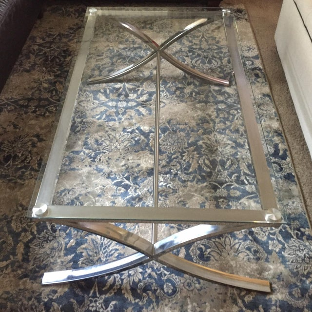 Glass and Stainless Steel Coffee Table - Image 2 of 3