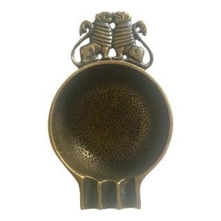 Vintage Nordia Israeli Mid-Century Modern Verdigris Brass Ashtray