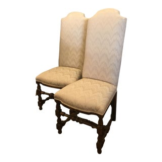 Chevron Upholstered Chairs - A Pair