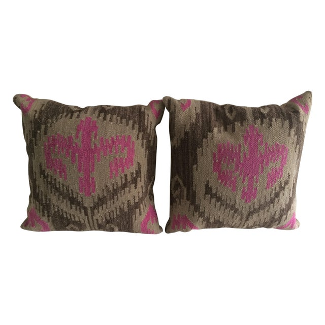 Pink & Brown Aztec Pillows - A Pair - Image 1 of 3
