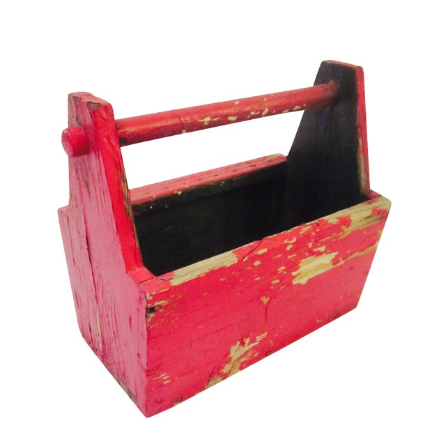 Rustic Red Tool Box Carrier Caddy - Image 1 of 7