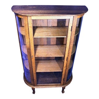 Antique Victorian Oak Display Cabinet