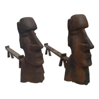 Eastern Island Style Andirons - A Pair
