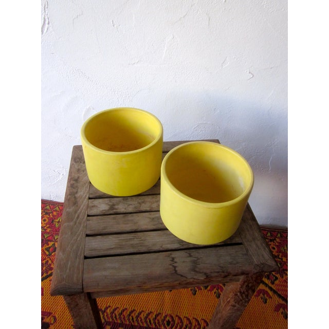 Image of Yellow Gainey Mid Century Modern Pots - Pair of 2