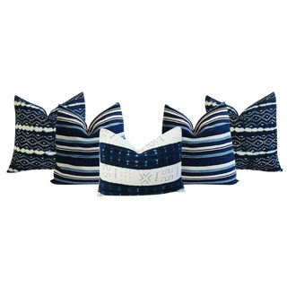 Boho Chic Indigo Blue Stripe & African Tribal Feather/Down Pillows - Set of 5