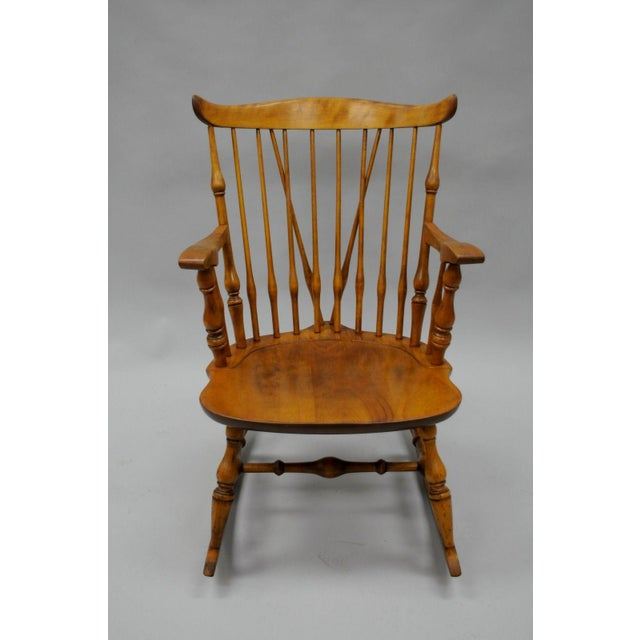 Colonial Traditional Vtg Nichols & Stone Maple Wood Windsor Rocking Chair Rocker - Image 3 of 11