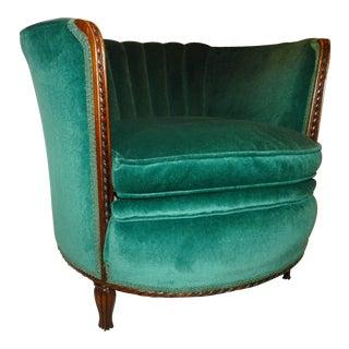 Emerald Velvet Channel Back Tub Chair