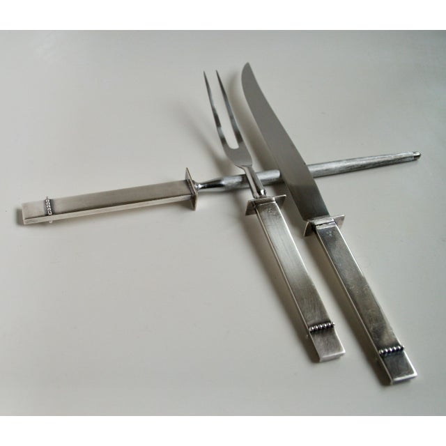 Mid-Century Silver Plate Carving Set - Image 9 of 9