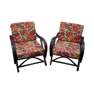 Ficks Reed Rattan Bamboo Lounge Chairs - Pair