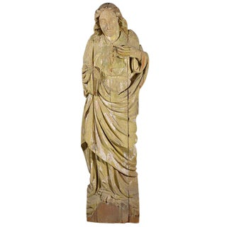 Large 17th Century Hand-Carved Wooden Statue