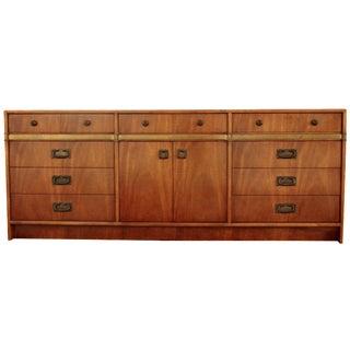 Hickory Mid-Century Walnut & Brass Dresser