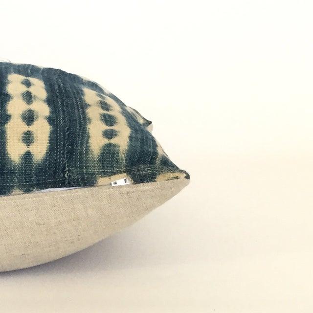 Vintage African Striped Indigo Batik Pillow - Image 3 of 4