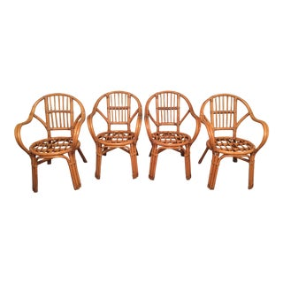 Set Of Vintage Bentwood Rattan Arm Chairs