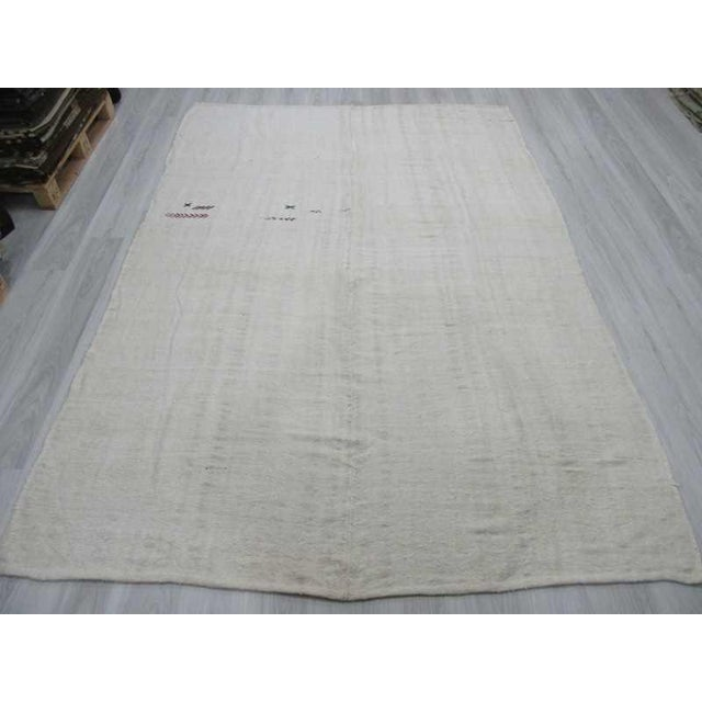 Image of Vintgage white Turkish hemp kilim rug