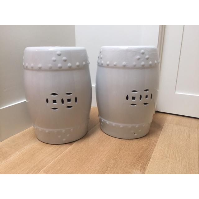 White Ceramic Garden Stools- A Pair - Image 2 of 5