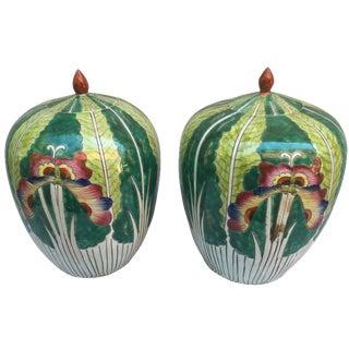 Lotus Flower Ginger Jars - A Pair