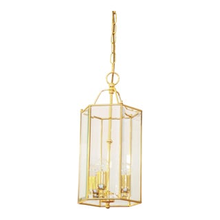 Austrian Brass Hanging Lamp with Faceted Glass, 1970s