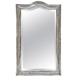 Antique French Louis Philippe Mirror in Silver Gilt with Curved Top