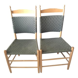 Green Tape Back Side Chairs - A Pair