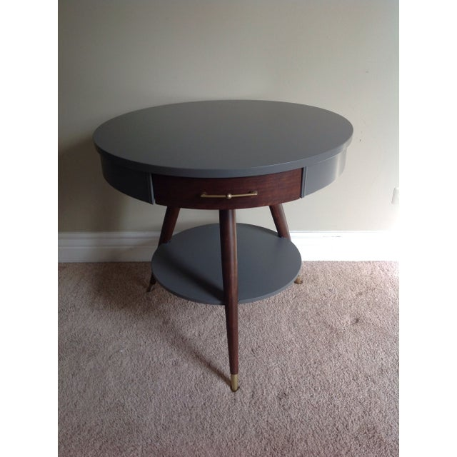 Mid-Century Tripod Leg Table with Drawer - Image 3 of 7