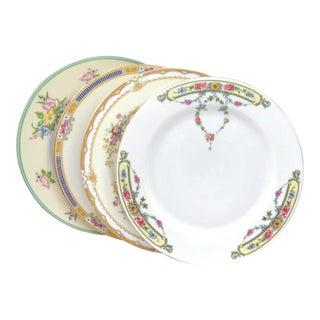 Mismatched Vintage Fine China Dinner Plates - Set of 4