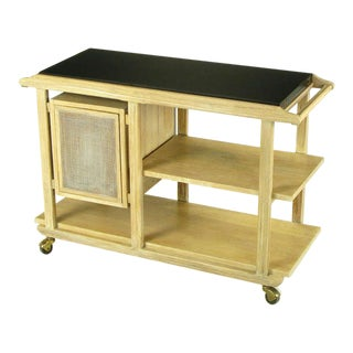 Bleached & Glazed Three-Tier Flip Top Bar or Serving Cart